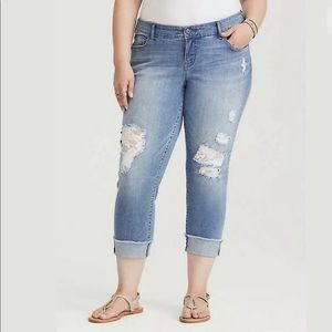 Torrid Crochet Inserted Distressed Jeans